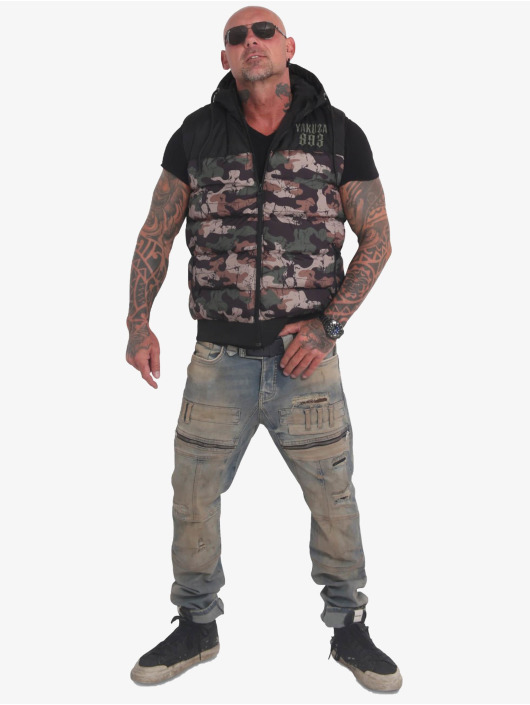 Yakuza Veste Fck Society Quilted Hooded camouflage