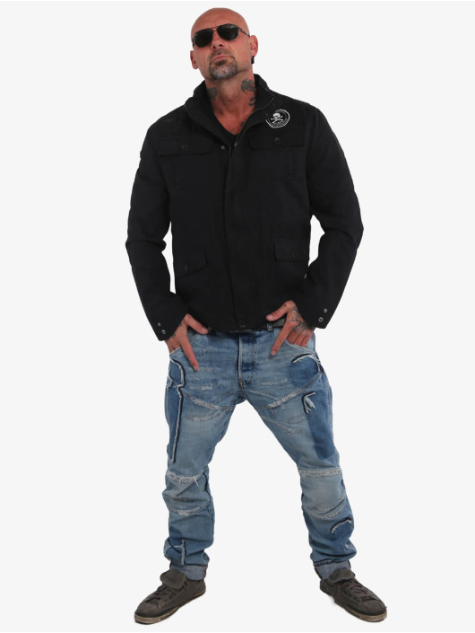 Yakuza Veste mi-saison légère Skull N Wings Military noir