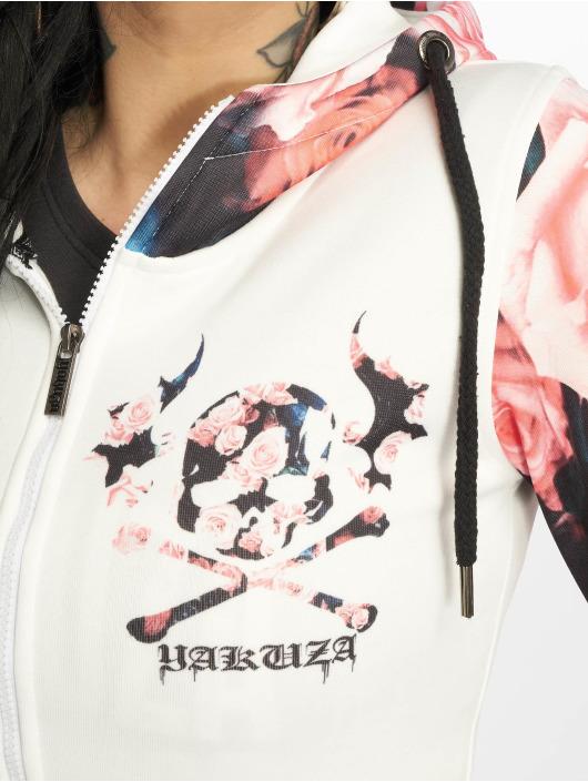 Yakuza Zip Hoodie Roses bílý