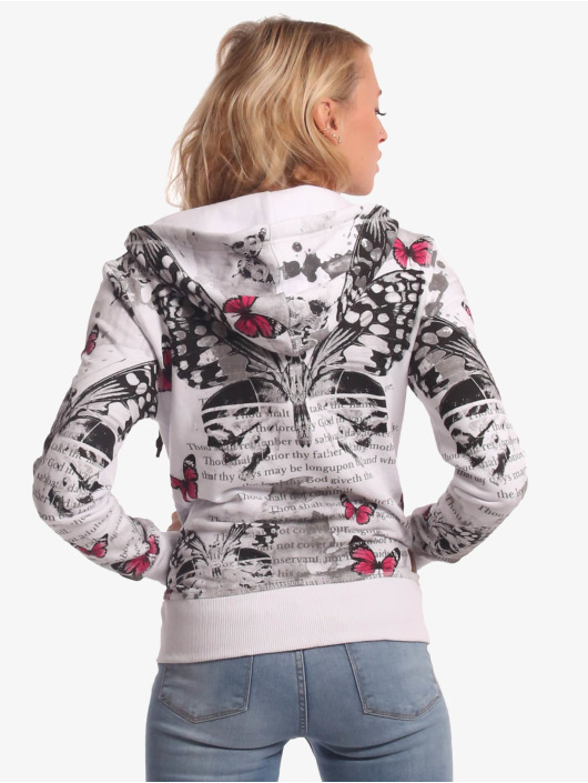 Yakuza Zip Hoodie Butterfly Meadow Zip bialy