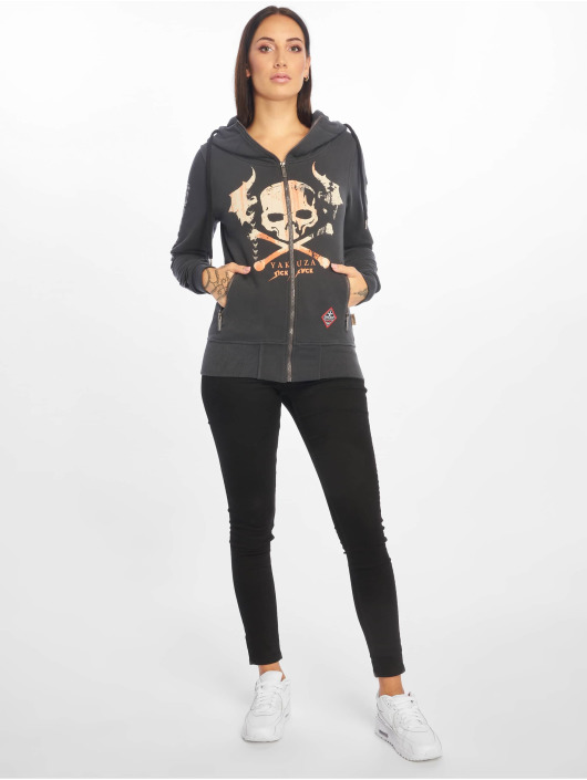 Yakuza Zip Hoodie Flying Skull High Neck grå
