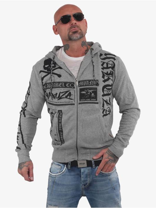Yakuza Zip Hoodie Fuck Religion grau