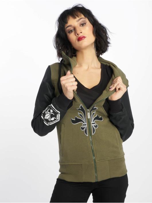Yakuza Zip Hoodie Lily High Neck Mix Hooded green