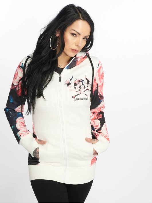 Yakuza Zip Hoodie Roses hvid