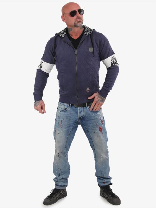 Yakuza Zip Hoodie Helmet Quilted modrý