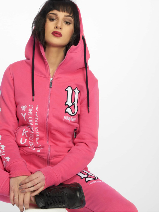 Yakuza Zip Hoodie Lil Flying Skull High Neck rosa