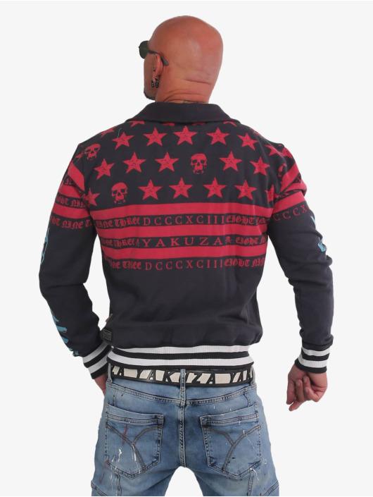 Yakuza Zip Hoodie Skulls N Stripes rot