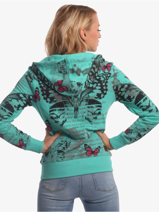 Yakuza Zip Hoodie Butterfly Meadow turkusowy