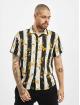 Aarhon overhemd Floral Stipes zwart