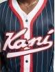 Karl Kani Chemise Varsity Block Pinstripe Baseball bleu