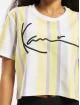 Karl Kani T-shirt Kk Signature Stripe Crop Wide bianco