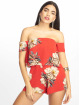Missguided Combinaison & Combishort Floral Crepe Overlay Bardot rouge 2