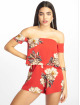 Missguided Jumpsuits Floral Crepe Overlay Bardot červený