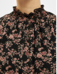 Missguided Robe High Neck Shirred Waist Floral noir