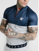 Sik Silk T-Shirt S/S Pinstripe Basebal blau