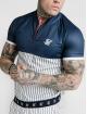 Sik Silk T-skjorter S/S Pinstripe Basebal blå