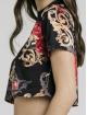 Sik Silk Top Floral Elegance Crop schwarz