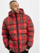 Urban Classics Prošívané bundy Hooded Check červený