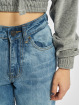 Urban Classics Straight Fit Jeans Ladies High Waist blau