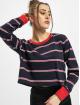 Urban Classics T-Shirt manches longues Ladies Short Yarn Dyed Skate Stripe LS bleu