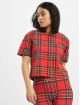 Urban Classics T-Shirt Ladies AOP Tartan Short Oversized Tee red