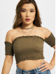 Urban Classics Top Cold Shoulder Smoke Cropped olive 2