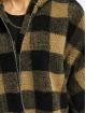 Urban Classics winterjas Ladies Hooded Oversized Check bruin