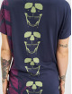 Yakuza T-shirt Lighting Skull Dye V Neck blu