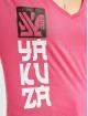 Yakuza T-Shirt Lighting Skull Dye V Neck rosa