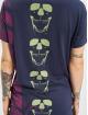 Yakuza T-Shirty Lighting Skull Dye V Neck niebieski