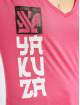 Yakuza T-Shirty Lighting Skull Dye V Neck rózowy