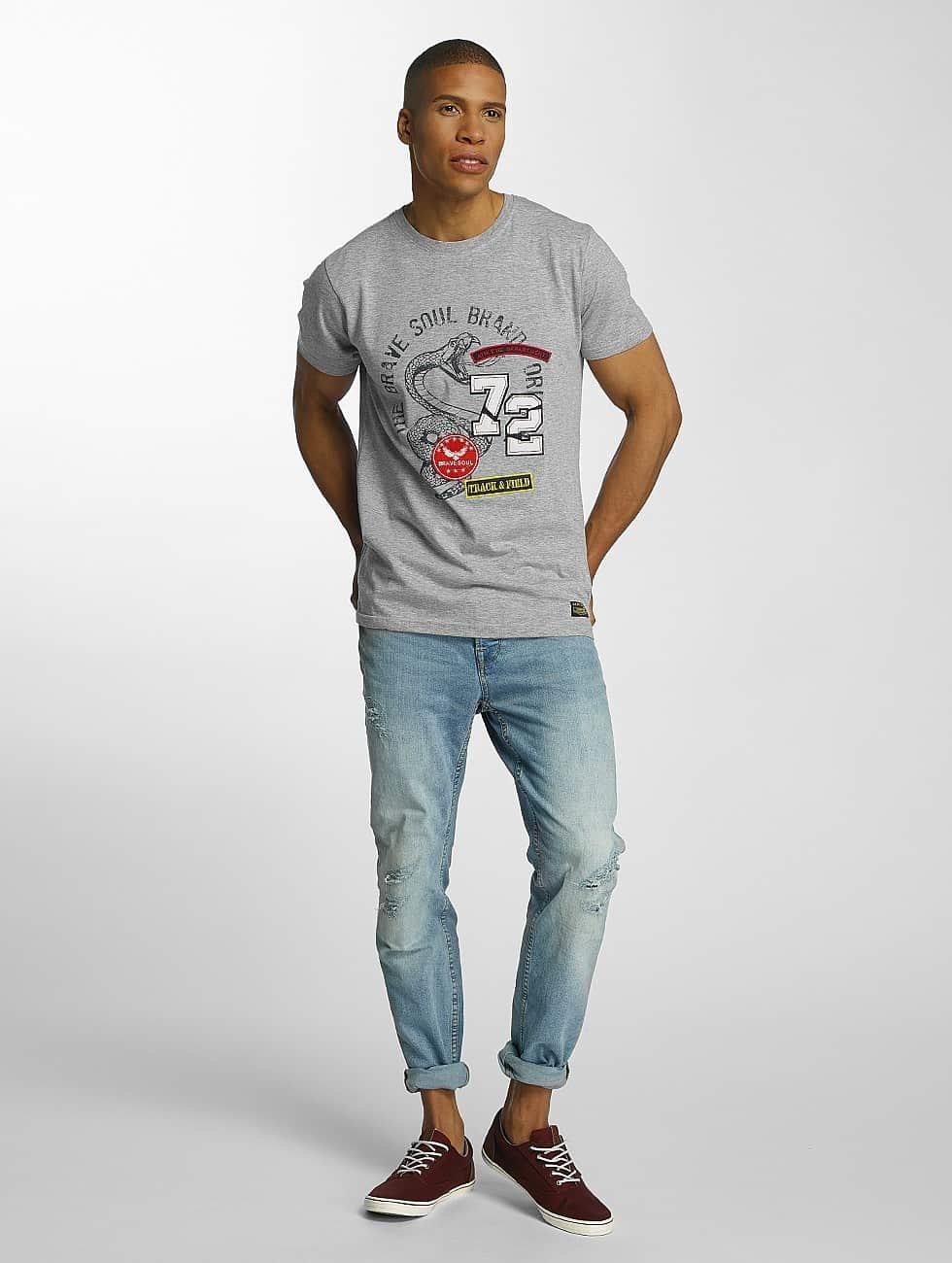 Brave Soul T-Shirt Crew Neck Set grau