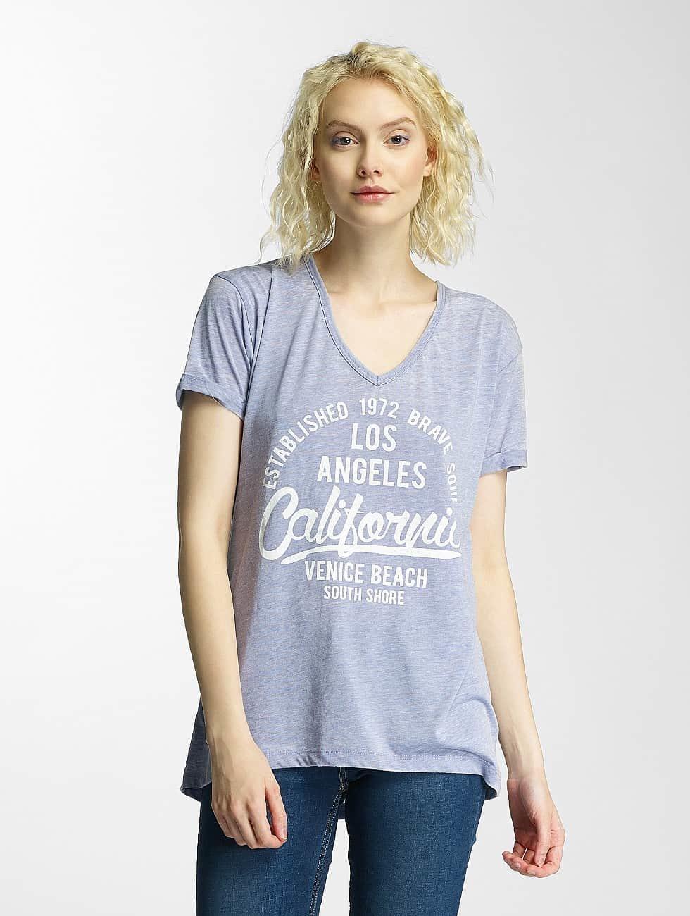 Brave Soul T-skjorter Burn Out V-Neck blå