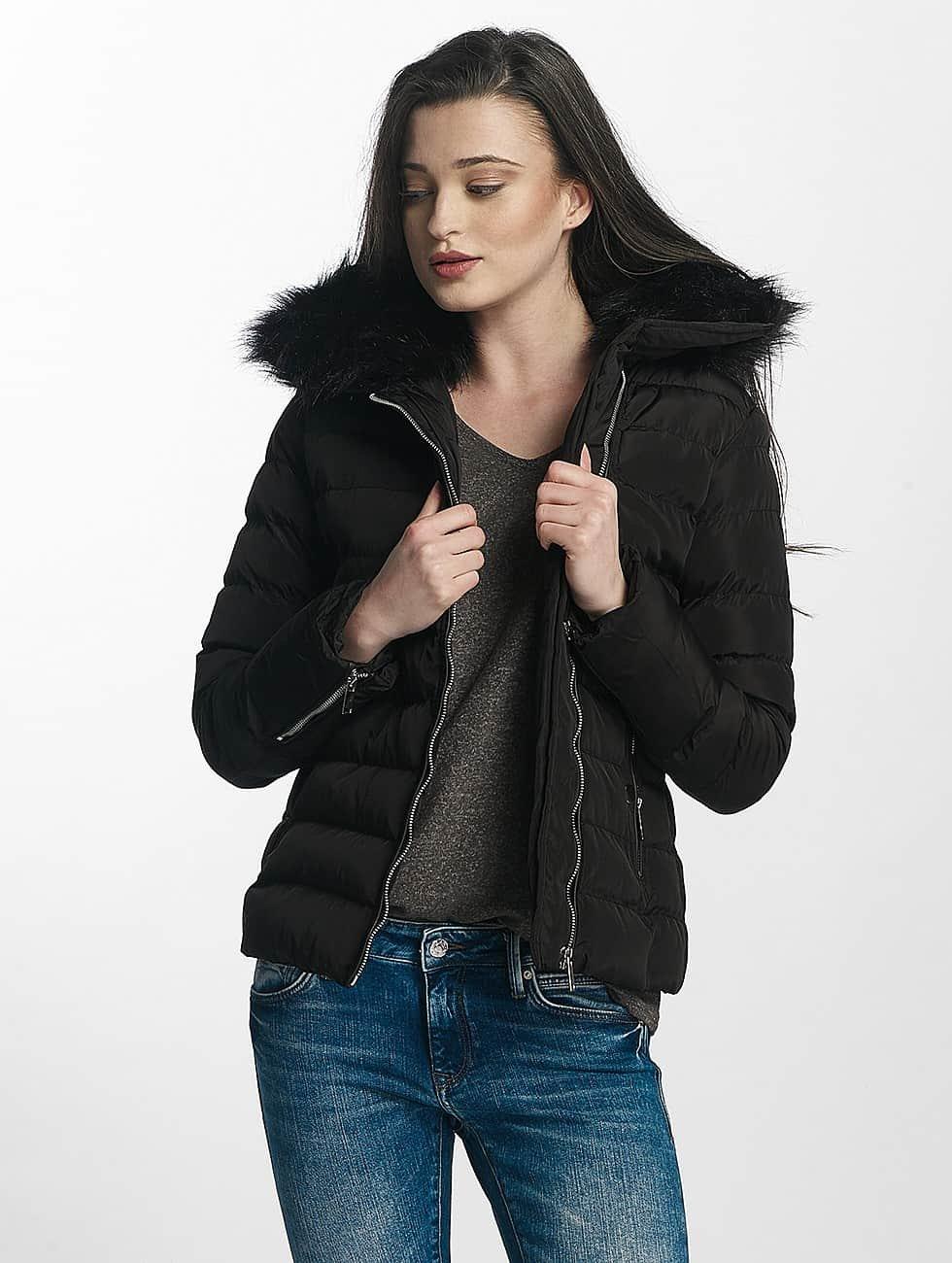 Brave Soul winterjas Brave Soul Fur Collar Winter Jacket zwart