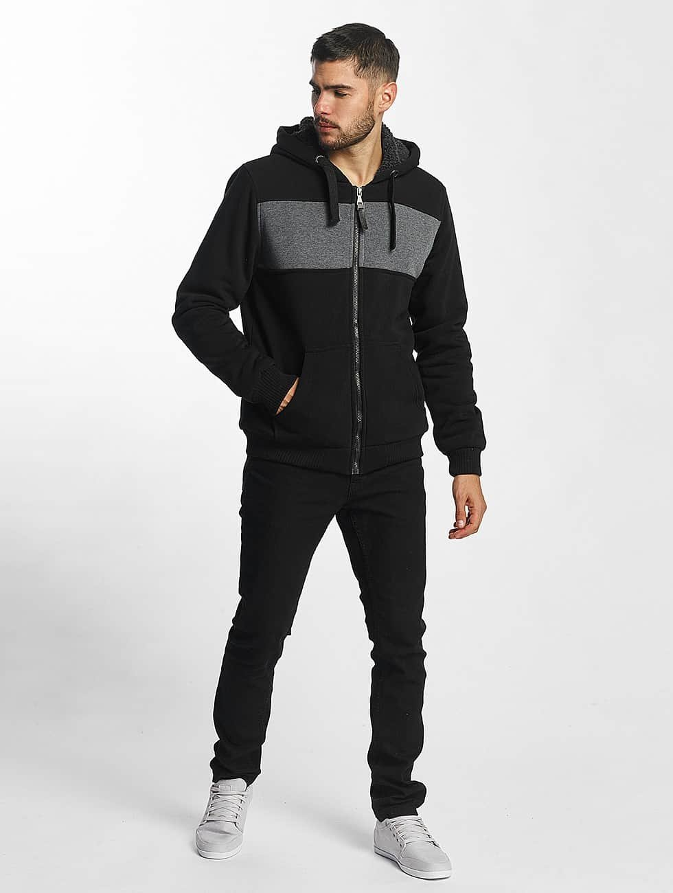 Brave Soul Zip Hoodie Through czarny