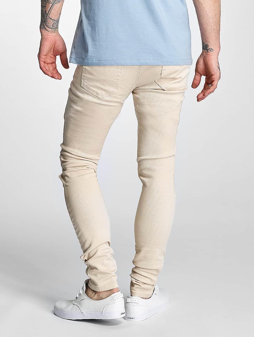 criminal damage herren skinny jeans ripper in beige 358680. Black Bedroom Furniture Sets. Home Design Ideas