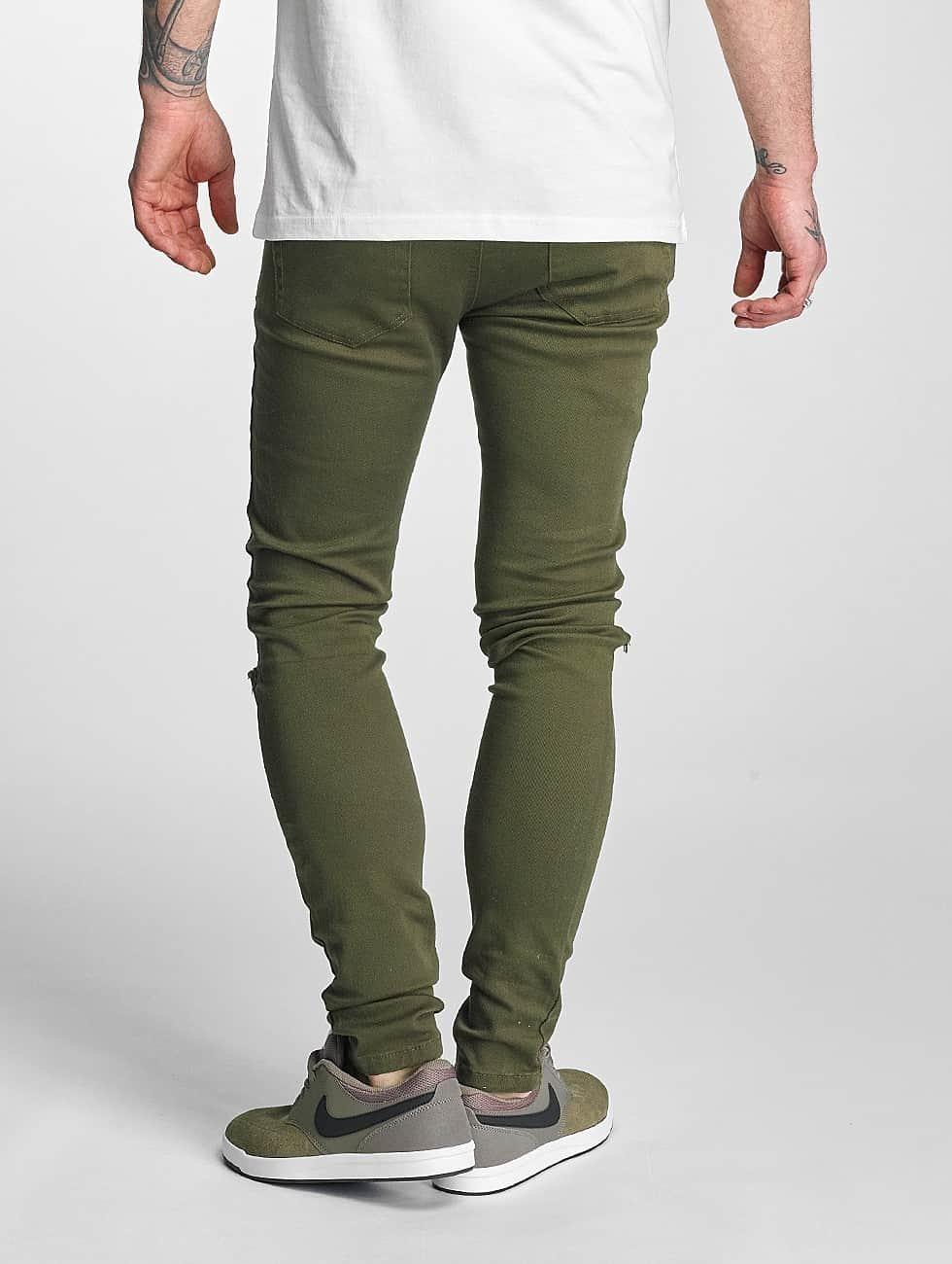 Criminal Damage Skinny Jeans Ripper olive