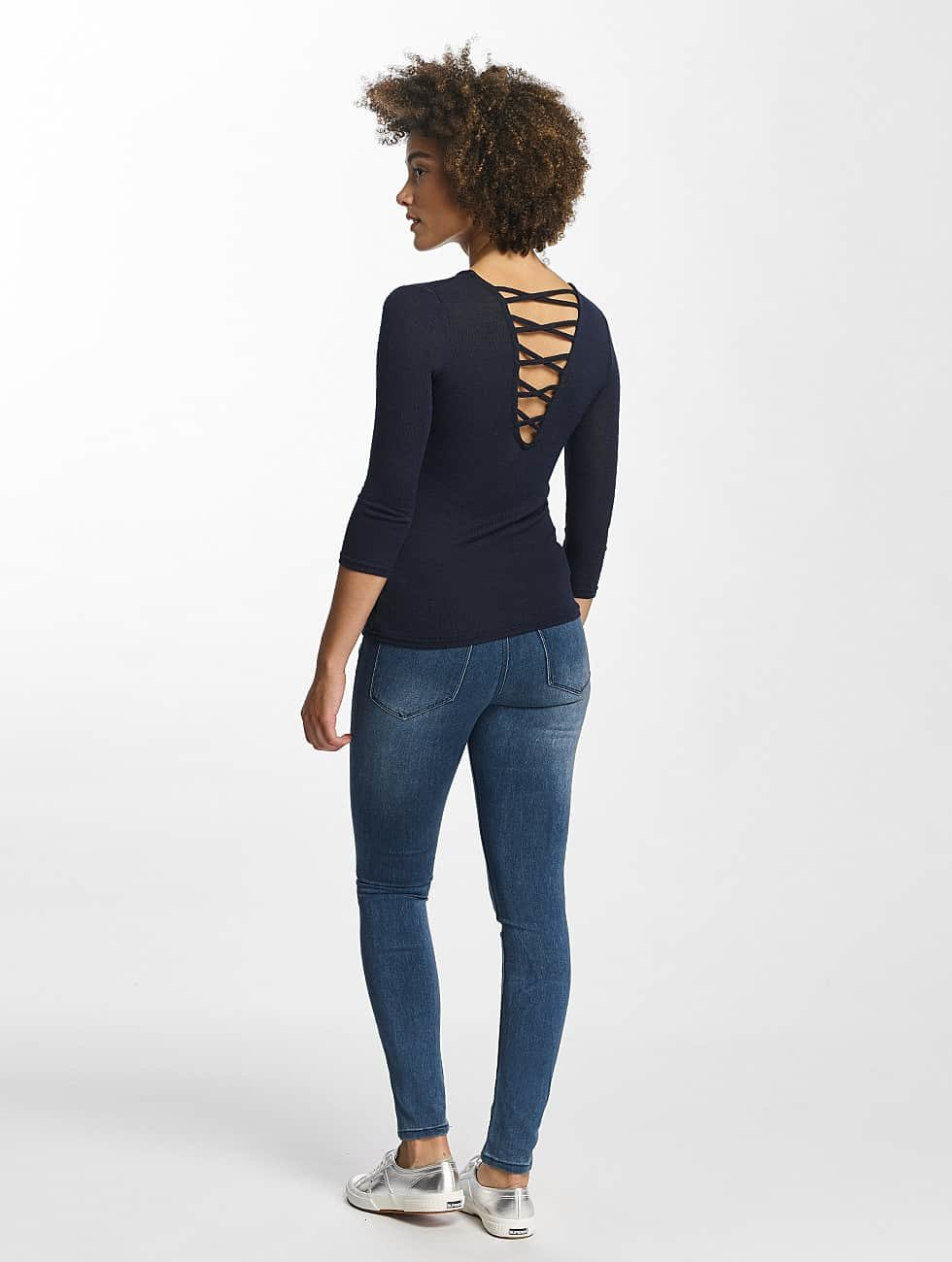 Hailys Pullover Jenny 3/4 Lace-Up blau