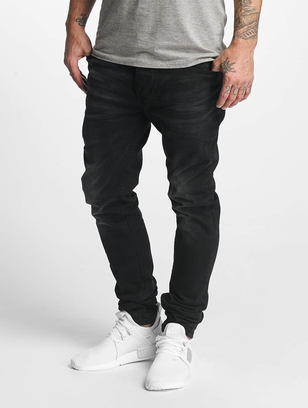 ID Denim Straight Fit Jeans Skinny Low Rise Tapered Leg black