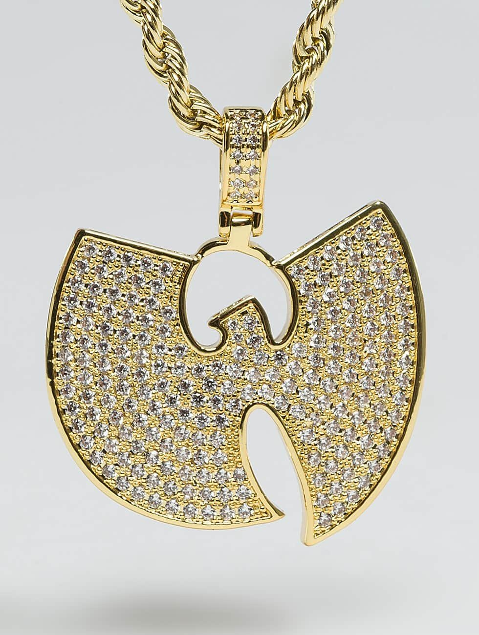 "KING ICE Cadena WU-TANG CLAN Gold_Plated CZ The ""W"" oro"