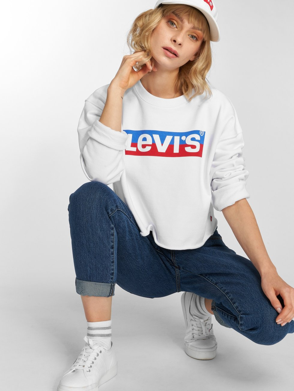 Levi's® Swetry Graphic Raw Cut Crew New Logo bialy