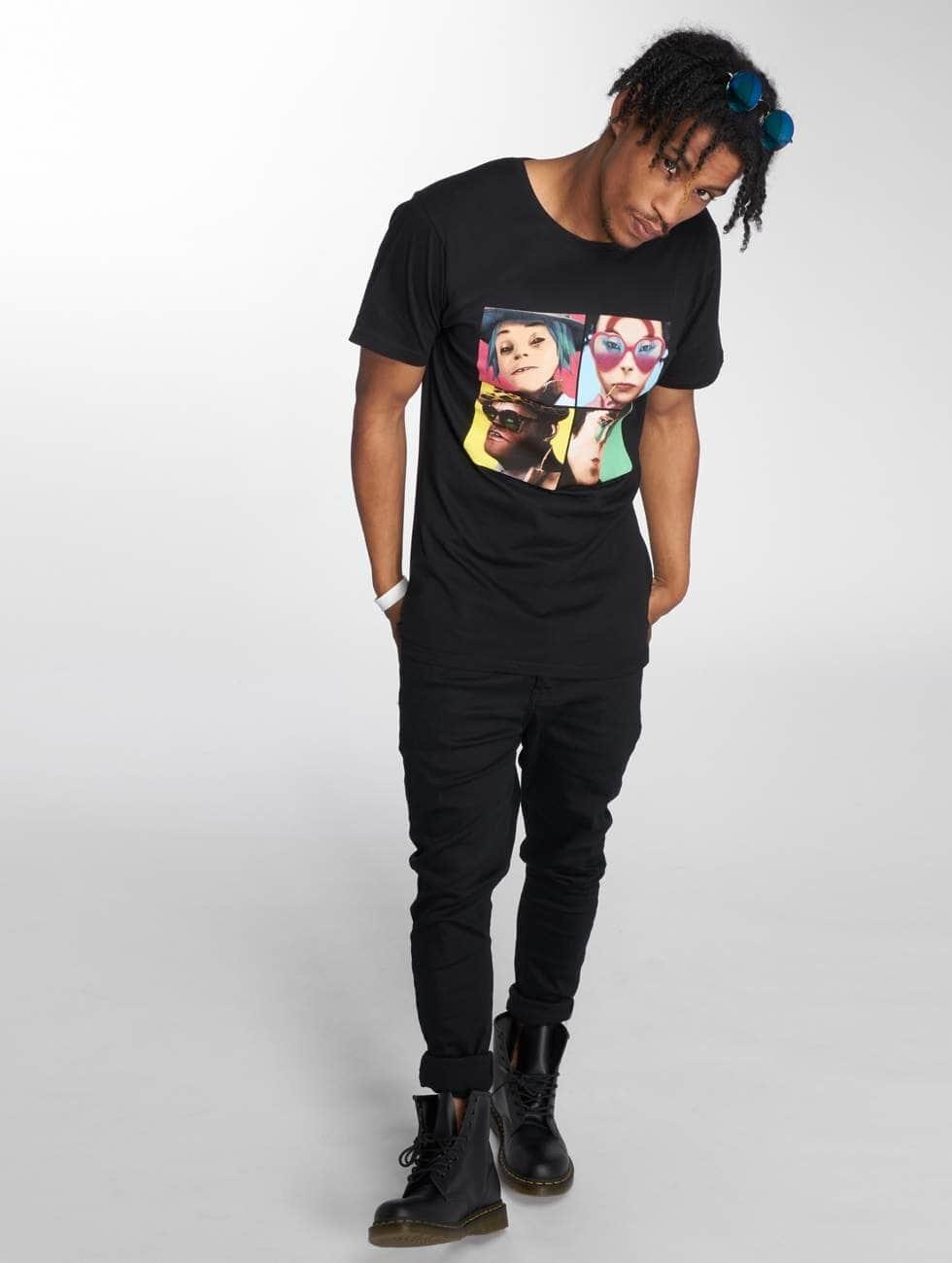 Merchcode T-Shirt Gorillaz 4 Faces black