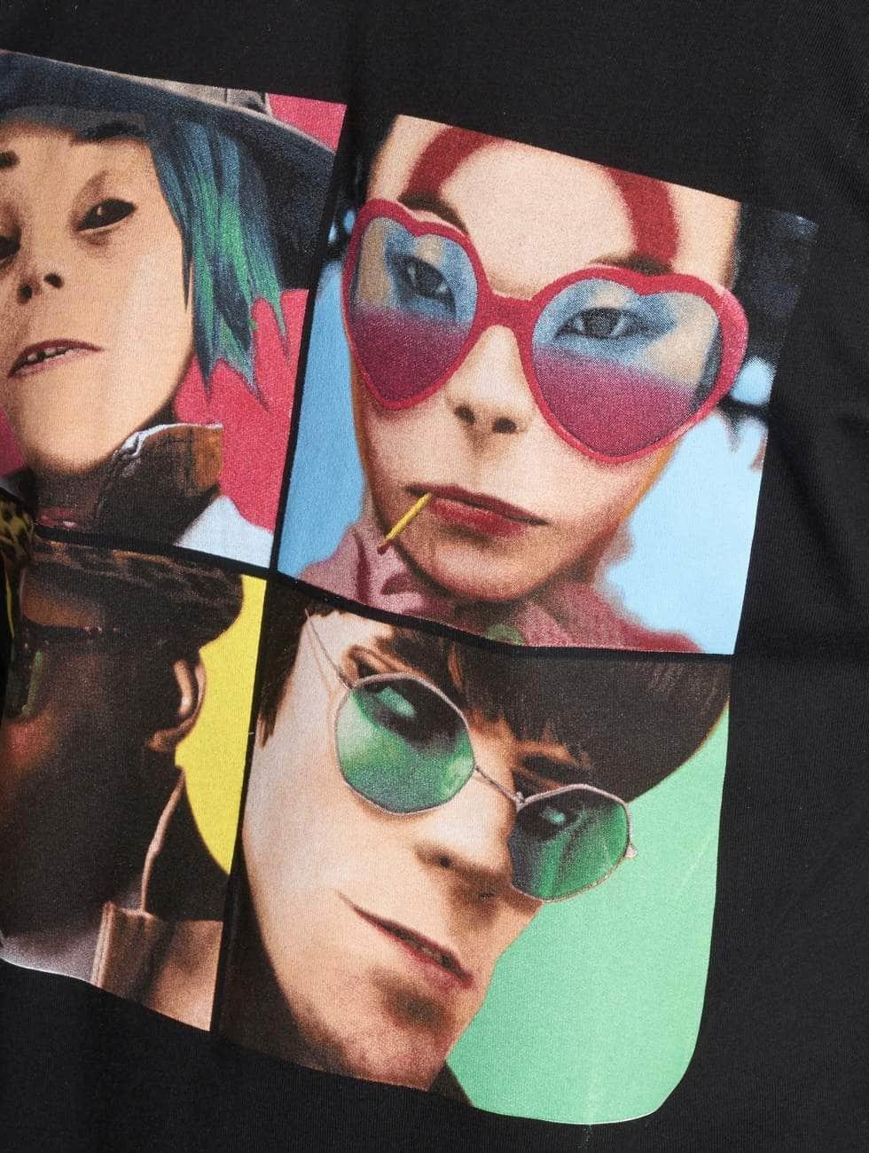 Merchcode T-Shirt Gorillaz 4 Faces schwarz