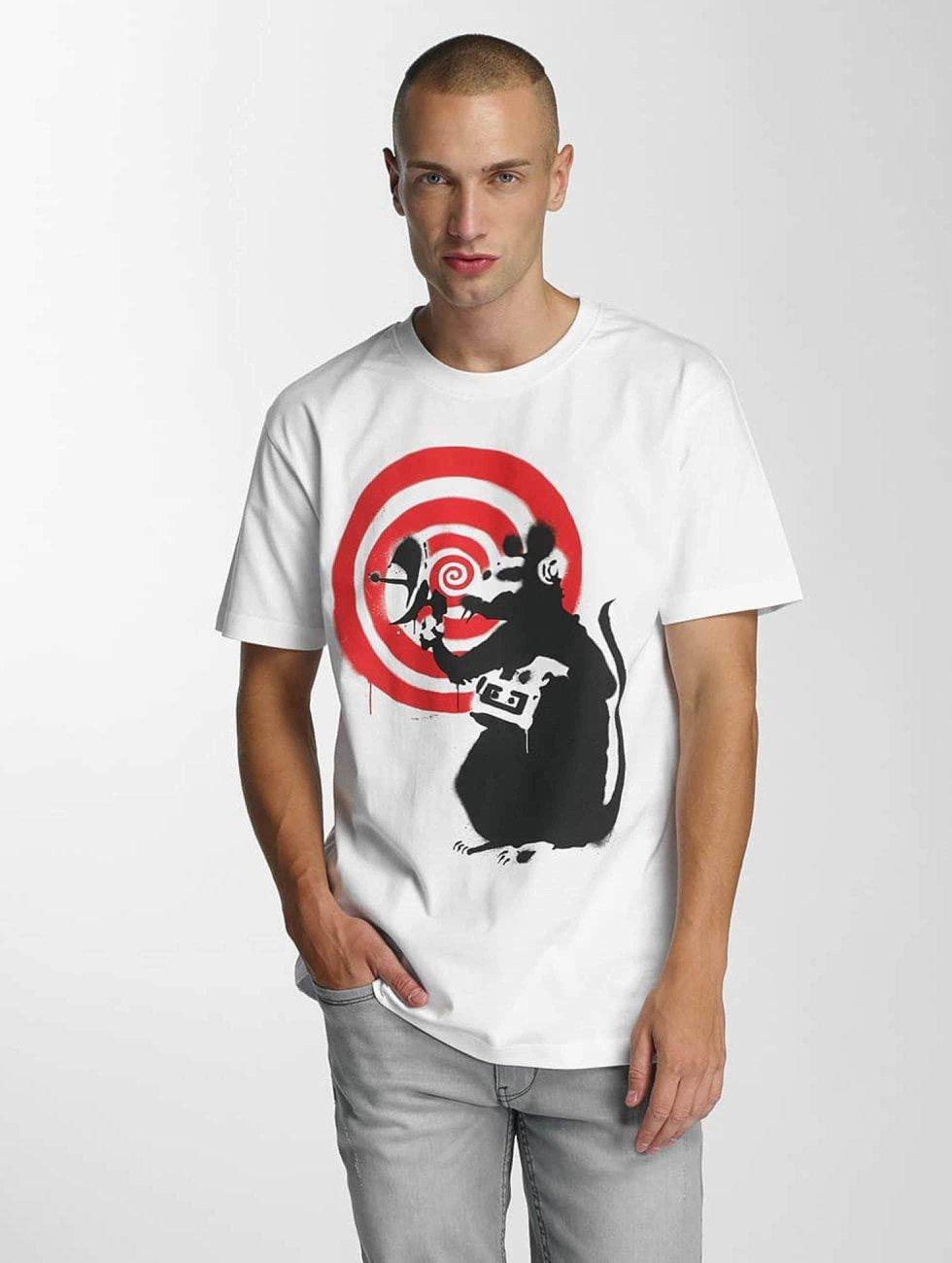 Merchcode Tričká Banksy Spy Rat biela