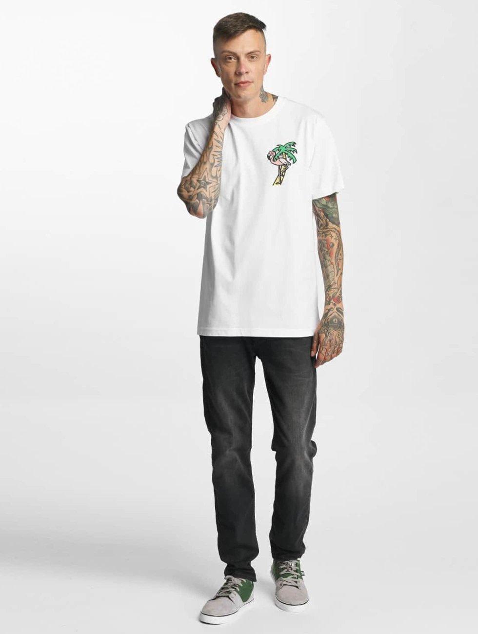 Mister Tee T-Shirt Flamingo blanc
