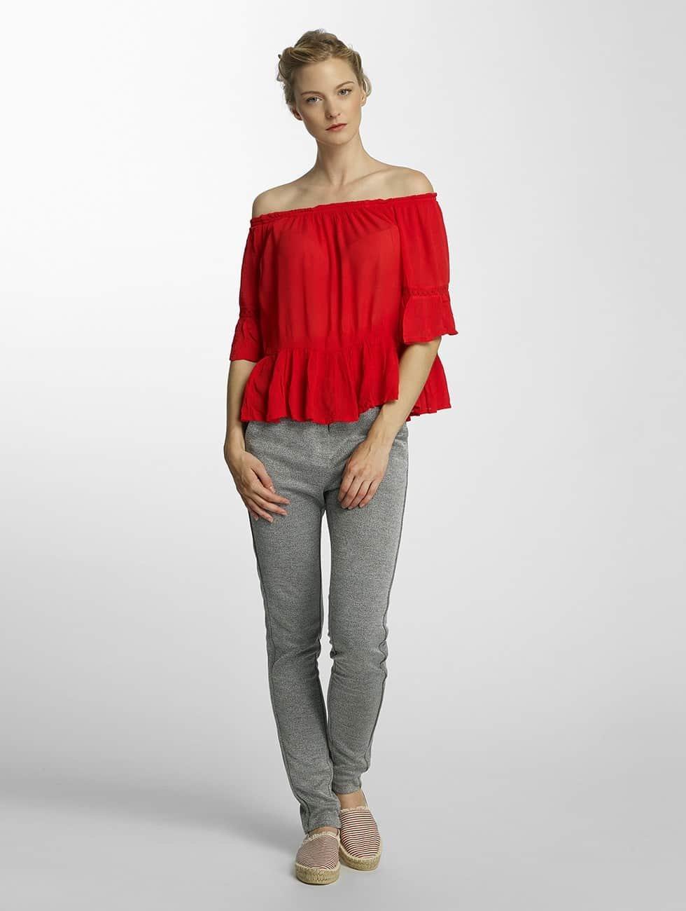 Only Bluzka/Tuniki onlBingo Off Shoulder Peplum czerwony