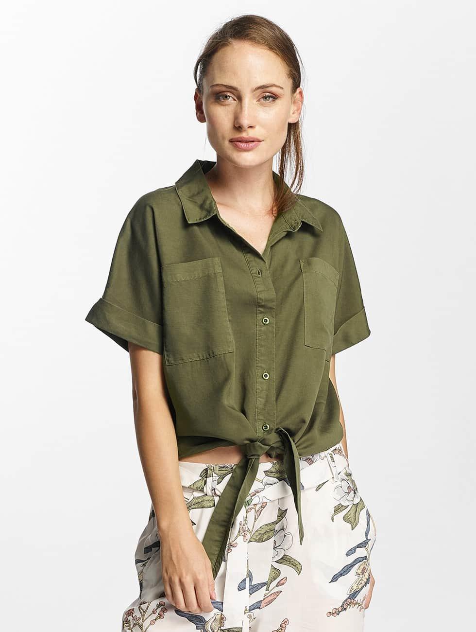 Only Bluzka/Tuniki onlBella Lux Tencel Tie zielony