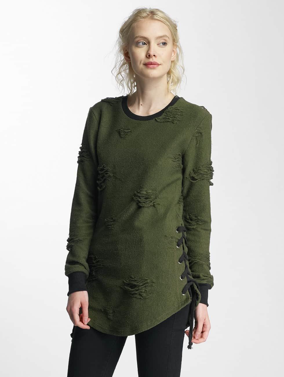 Paris Premium Swetry Destroyed zielony