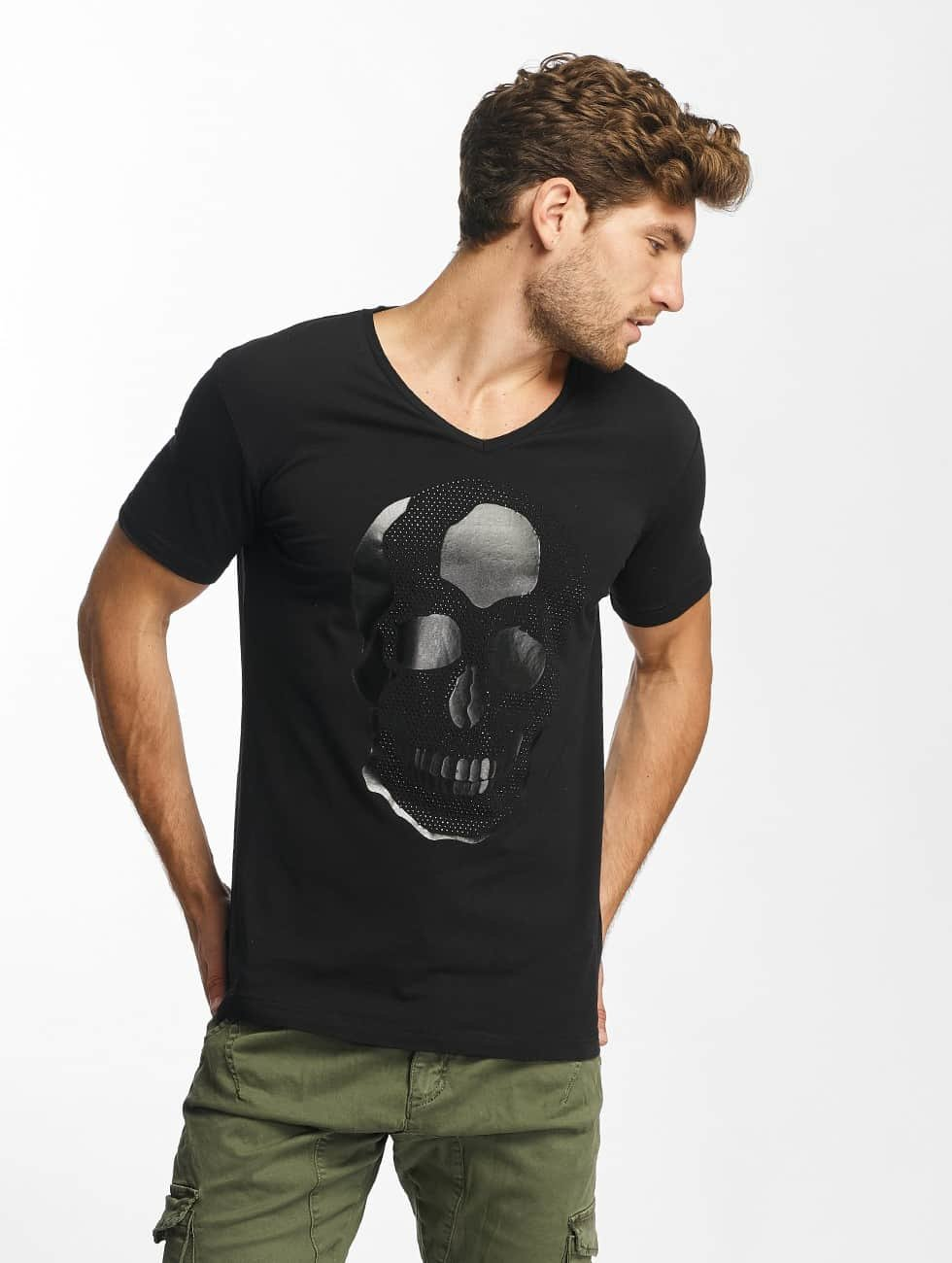 Red Bridge t-shirt Rhinestone Skull zwart
