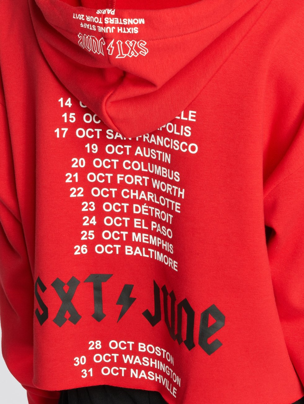 Sixth June Bluzy z kapturem Oversize Cropped czerwony